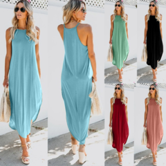 Summer Women's Sleeveless Dress Solid Color Long Sling Strap Comfortable Soft Dress Loose Dress M pink