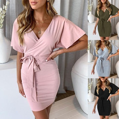Fashion Casual Loose Belted Button Front Tiered Belted Dress Short Sleeve Solid Color V Neck Dress S pink
