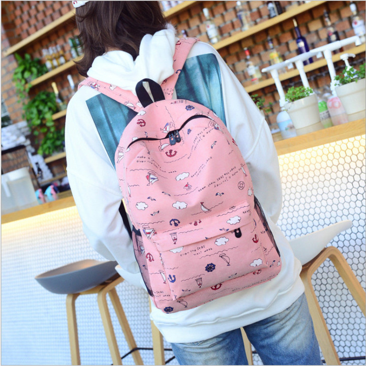 New Fashion Unisex Casual Backpack Women Canvas Bag Girl Backpack Boy Travel Backpack pink one size