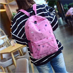 New Fashion Unisex Casual Backpack Women Canvas Bag Girl Backpack Boy Travel Backpack hot pink one size