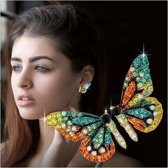 Ladies Chic Lovely Crystal Rhinestone Hollow Butterfly Ear Stud Earrings Gift multicolor one size