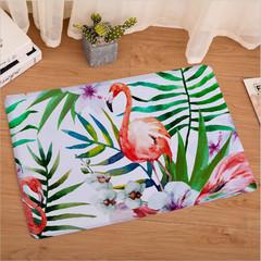 Flamingo Printed Bathroom Kitchen Anti-Slip Floor Mats Living Room Bedroom Flannel Carpet a 40cm x 60cm