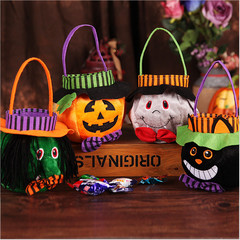 Happy Halloween Witch Pumpkin Prints Candy Tote Bag Cookie Storage Handbag Party Gifts A as the picture