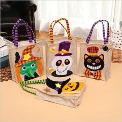 2019 Halloween Candy Bags Holiday Pumpkin Bag Kids Gifts Bag Children Halloween Party Supplies black cat 12.20 x 5.90 inch