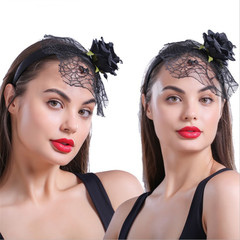 Halloween Cosplay Headband Spider Hair Hoop Trendy Spiders Web Headband Hallowmas Party Gift black one size