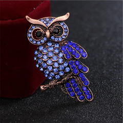 New Bridal Owl Gold Pin Bouquet Vintage Blue Rhinestone Wedding Brooches Purple one size