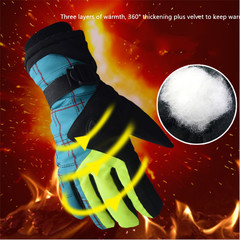 Outdoor Windproof Non-slip Cycling Ski Gloves Winter Touch Screen Warm Riding Gloves blue 31cm*13cm