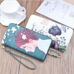 Fashion Lady Women PU Leather Flower Printed Purse Long Wallet Card Case Holder A 7.48'' x 0.98'' x 3.93''