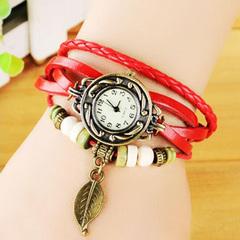 Women's Casual Vintage Multilayer Wristwatch Weave Wrap Rivet Leather Bracelet Wrist Watch red one size