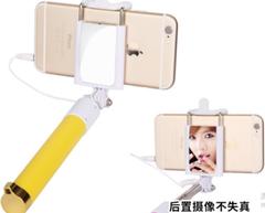Fashionable female digital selfie stick yellow