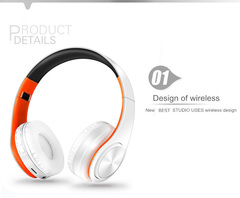 LPT660 Wireless Bluetooth Earphone Headset with microphone heavy low bass stereo white orange
