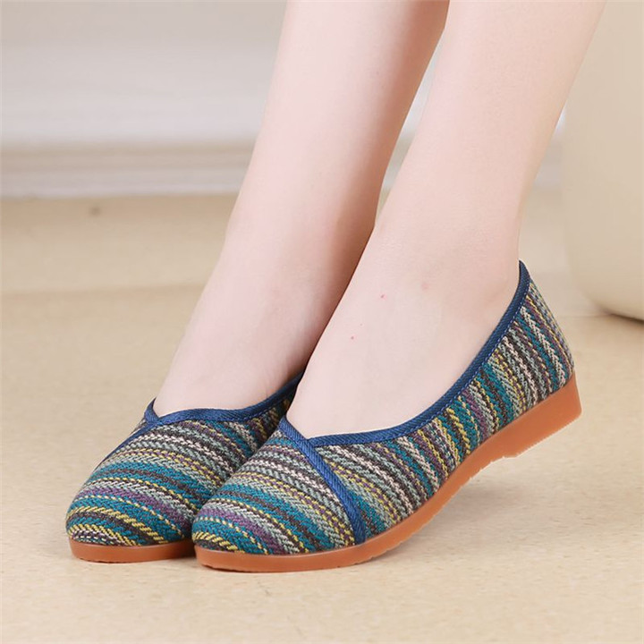 Flax Linen Flat Women Shoes Old Beijing Cloth Shoes Anti-slip Flats Breathable Shoes Ladies Shoes blue 35