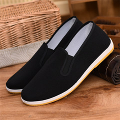 Hot Sale Unisex Old Beijing Fabric Cloth Shoes Casual Work Flats Breathable Men Shoes Women Shoes black(yellow sole) 35