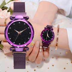 Luxury Women Watches Ladies Magnetic Starry Sky Clock Fashion Diamond Female Quartz Wristwatches brown one size