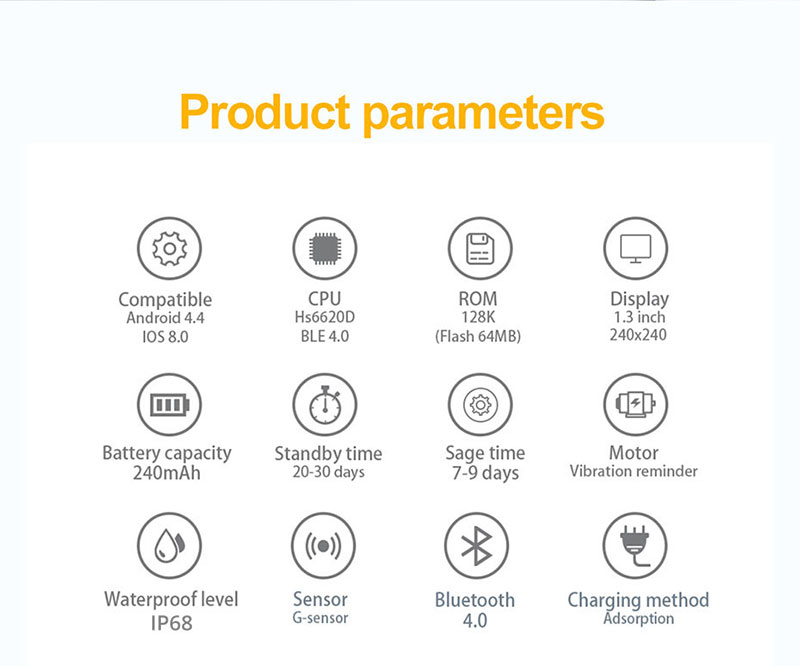 1PCS Smart Watch IP68 Waterproof Activity Tracker Smartwatch Women Men  Clock BRIM for Android IOS white & black one size
