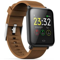 Q9 Smart Watch Waterproof Blood Pressure Heart Rate Monitor Sport Trakcer Watch Men Women Smartwatch brown one size
