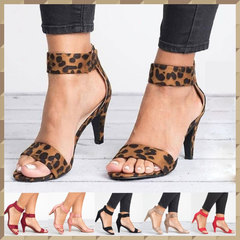Hot Fashion High Heel Women Sandals Casual Open Toe Ladies Shoes Ankle Strap Stiletto Sandals brown 35
