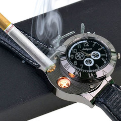 1 PCS Military Lighter Electronic Watch Windproof Flameless Cigarette Men Lighter Watches Men Watch black one size