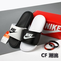 Genuine NIKE Swoosh Men&Women Summer Cool Slippers Fashion non-slip shoes black+white 1 36