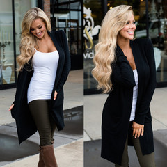 Long sleeve cardigan pockets for elegant garments made with high quality outpoints black l