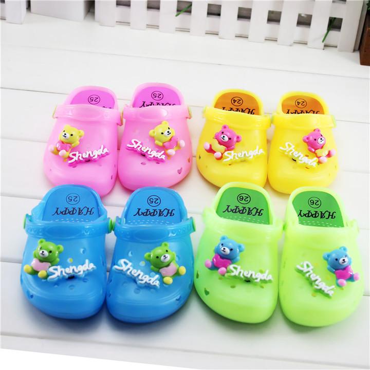New children's sandal baby cute good-looking cartoon bear crocs little bear crystal jelly slippers pink 24