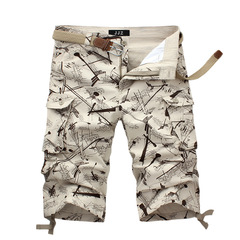 Men's shorts overalls summer beach pants horse pants sport 7 minute slacks khaki 32