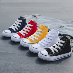 Boys and girls high-top cloth shoes white shoes small white shoes spring 2019 class meeting baby boy white 24