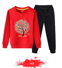 Children 2019 new sports two sets of school students kindergarten sports class coat pants red 130