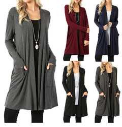 2019 new spring woman's coat pocket woman's long-sleeved coat woman's cardigan l black