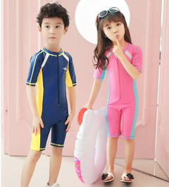 Children's conjoined swimming boys and girls in jellyfish suits snorkeling suit diving suit pink 3XL 130-140