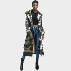 Green army camouflage belt overcoat women go on the street casual coat women open forehead coat camouflage green xl
