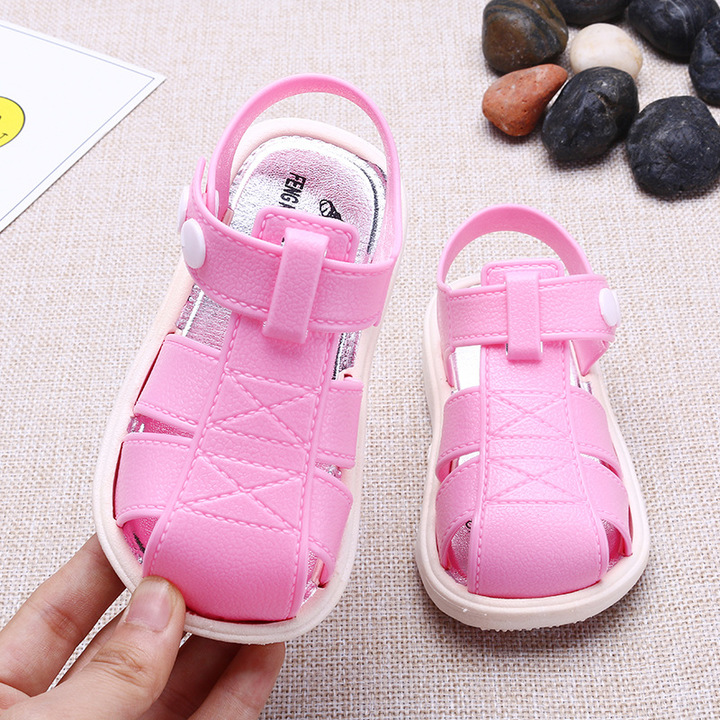 Summer children's shoes baby sandal children's non-slip sandal toddler shoes children's beach shoes pink 25