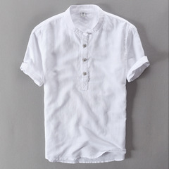 2019 fashion short-sleeved men's linen stand-up collar cotton and linen tray button T-shirt shirt white m lycra