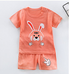 2019 new baby short-sleeved children's cartoon set baby sturdy round neck soft T-shirt shorts The orange rabbit 90cm pure cotton