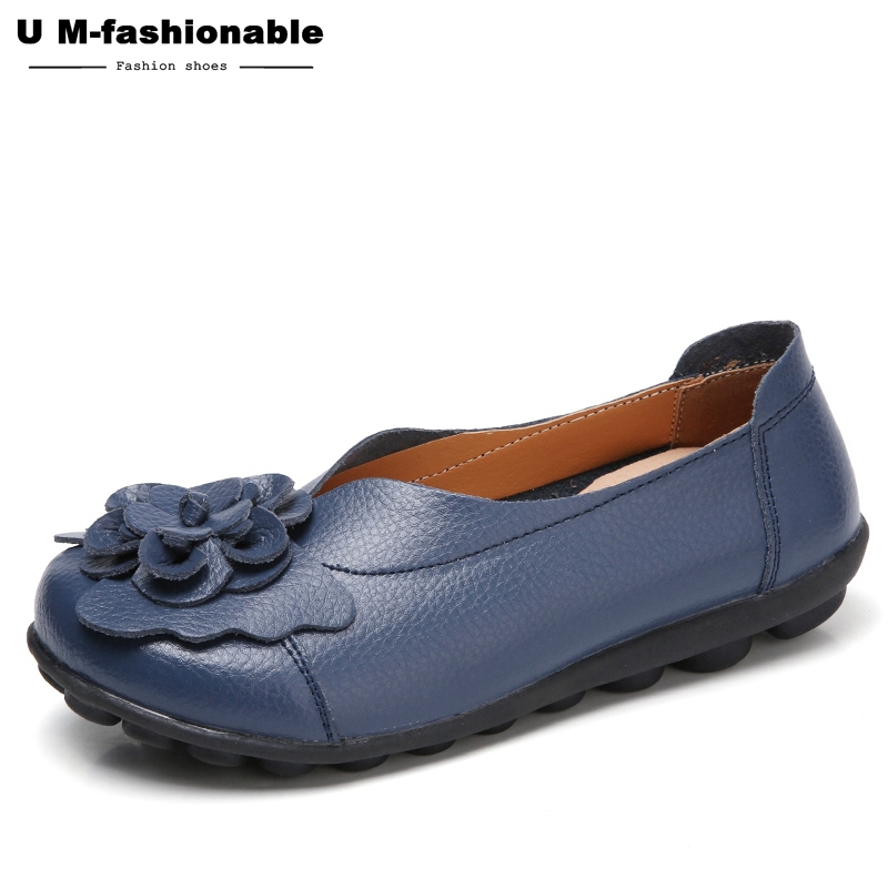 aa219c8c74e Women Loafers Leather Mother Shoes Slip On Ballet Shoes Female ...