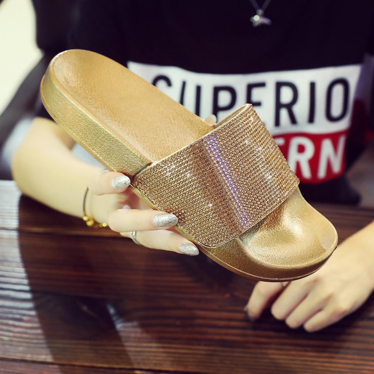bf42de637 Women Crystal Diamond Bling Beach Slides Sandals Casual Shoes Slip ...