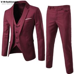 (Jacket+Pant+Vest) Men Wedding Suit Male Blazers Slim Fit Suits Men's Costume Business Formal Party wine red S