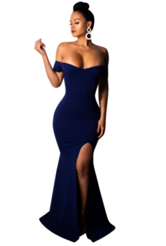 Women's Clothes Dresses Off Shoulder Dress High Slit Evening Party Cocktail Dress L blue