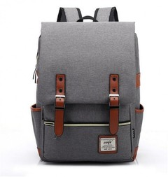 Fashion Men Daily Canvas Backpacks for Laptop Large Capacity Computer Bag Casual School Bagpacks gray one sizi