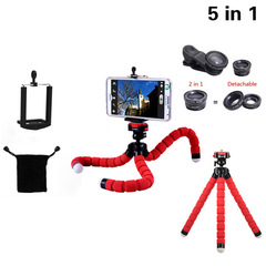 Flexible Tripod Mobile phone camera holder with gift for a set fisheye smartphone camera lens Red whole set