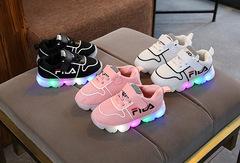 Spring Baby LED Sport Shoes LED lights flashing  Girl/Boy Fila sports shoes Black 23#14.5cm
