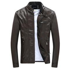 Men's PU Jackets Coats Motorcycle Biker Faux Leather Jacket Men Clothes Thick Velvet Coats black m