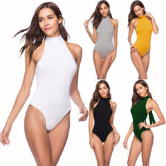 Women Solid O Neck Shirt Jumpsuit Ladies Sleeveless Tops Thong Female Underwear Yellow xl