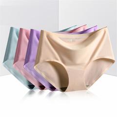 2XL Plus Size Sexy Women Panties Ice Silk Cotton Mid Waist Briefs Women Underwear Seamless Sleepwear white xl