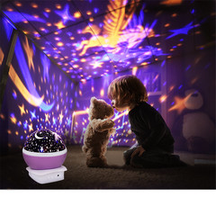 Starlight LED USB Rechargeable Rotary Nightlight Moon Starry Sky Led Lights For Home Kids Lamp Gift Pink As Picture 5W
