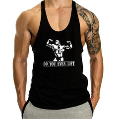 Cotton Sleeveless Shirts Tank Top Men Fitness Shirt Mens Singlet Bodybuilding Workout Gym Vest black 2xl