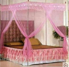 Mosquito net with straight metallic stands - Pink 5*6