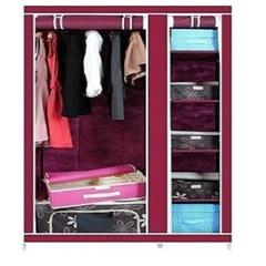 2 Columns Portable Wardrobe maroon