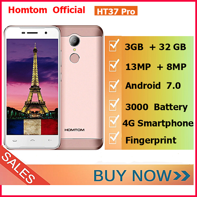 Homtom HT37 Pro 4G Android 7.0 3GB+32GB 13MP 3000mAh Double Speaker, 5.0 Inch HD Fingerprint ID Gold