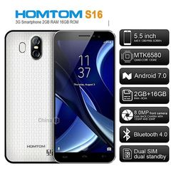 Homtom S16, 5.5inch HD, ( 2GB RAM+ 16GB ROM) 13MP + 2MP+ 8MP , Android 7.0 , Battery 3000mAH, White White